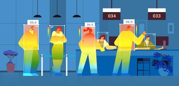 Wykrywanie podwyższonej temperatury ciała osób w poczekalni sprawdzanie przez bezdotykową kamerę termowizyjną zatrzymanie epidemii koronawirusa koncepcja poziomej ilustracji wektorowych