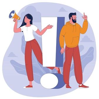 Wykrzyknik. ilustracja młodego mężczyzny i kobiety ze znakiem ostrzegawczym. pojęcie ludzi z wykrzyknikiem, odpowiedź na pytanie, alert, ostrzeżenie i powiadomienie.