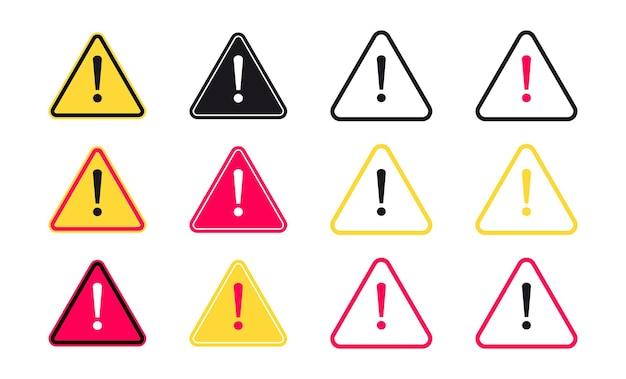 Wykrzyknik zestaw ikon w płaski symbol uwaga z ikoną wykrzyknika