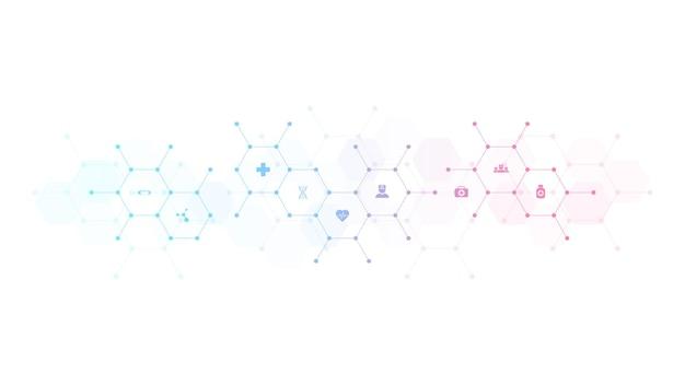 Wykształcenie medyczne z płaskich ikon i symboli. projekt szablonu zawierający koncepcję i pomysł dotyczący technologii opieki zdrowotnej, medycyny innowacji, zdrowia, nauki i badań.