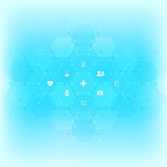 Wykształcenie medyczne z płaskich ikon i symboli