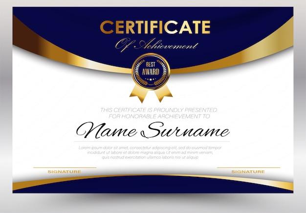 Wykształcenie świadectwo szablonu dyplomu, wektorowy luksusowy nowożytny, nagrody tła prezent