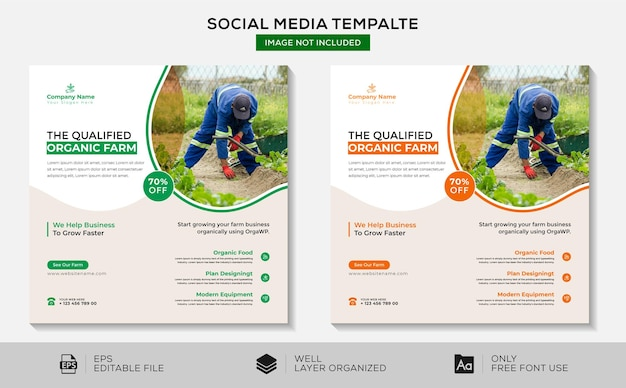 Wykwalifikowane media społecznościowe gospodarstwa ekologicznego i szablon banera