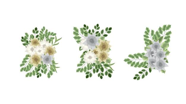 Wykwintna kolekcja botaniczna dzikich kompozycji kwiatowych na banery