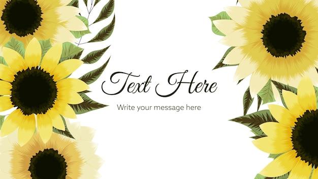 Wykwintny abstrakcyjny szablon tła żółtego kwiatu z miejscem na tekst kwiatowy elementy