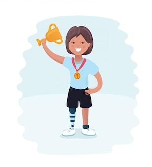 Wyłącz ikonę piktogramu zwycięzcy gier paraolimpijskich z handicapem sportowym