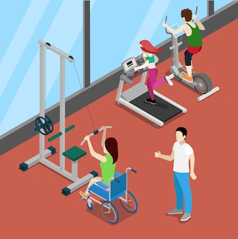 Wyłącz kobietę na wózku inwalidzkim, ćwicząc w siłowni. izometryczni ludzie niepełnosprawni. ilustracji wektorowych