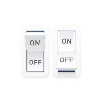 Wyłącz przycisk przełącznika ui na białym tle. ilustracja wektorowa