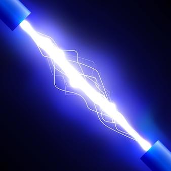 Wyładowanie elektryczne. błyskawica. efekt świetlny. ilustracja.