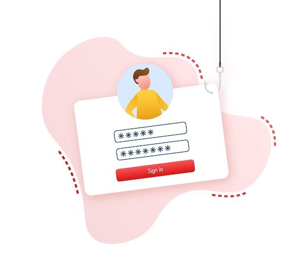 Wyłudzanie danych z haczykiem wędkarskim, laptopem, zabezpieczeniami internetowymi. czas ilustracja wektorowa.