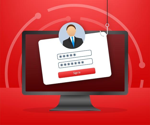 Wyłudzanie danych z haczykiem wędkarskim, laptopem, zabezpieczeniami internetowymi. ilustracja wektorowa