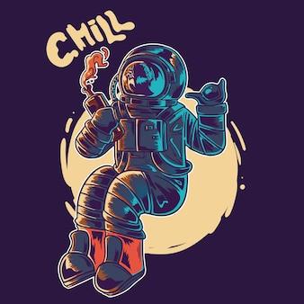 Wyluzuj astronautę. astronauta pije ilustracja