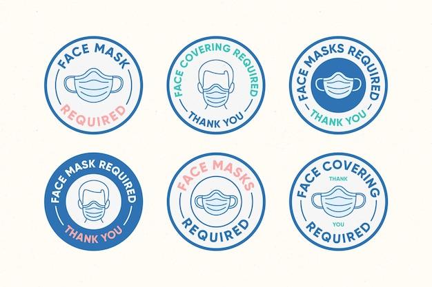 Wymagana maska na twarz - kolekcja znaków