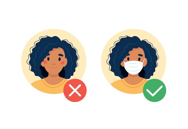 Wymagana maska. żadnego wejścia bez maski. czarna kobieta z maską medyczną i bez.