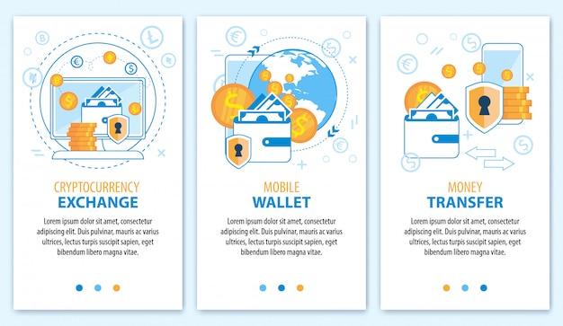 Wymiana kryptowaluty. portfel mobilny. zestaw transparentów przelewów pieniężnych.