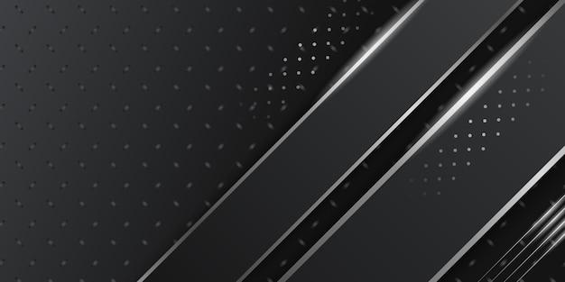 Wymiar 3d czarne abstrakcyjne tło z białą srebrną dekoracją świetlną