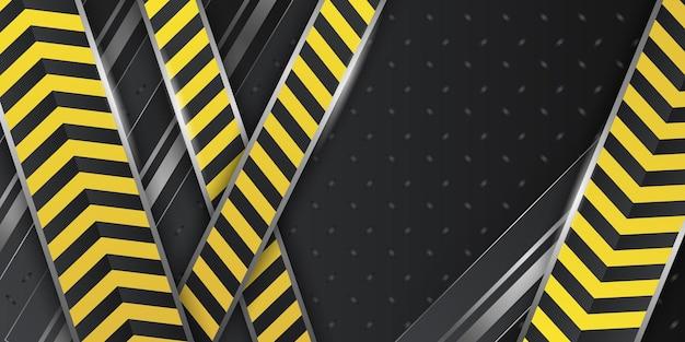 Wymiar 3d czarne abstrakcyjne tło z żółtą linią i dekoracją linii policyjnej