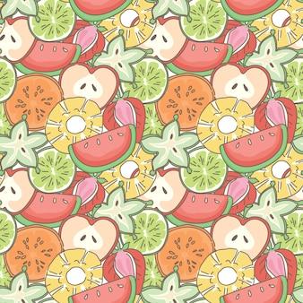 Wymieszaj owoce bezszwowe tło wzór