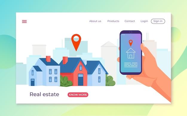 Wynająć nieruchomość dom w ilustracji projektowania smartfona