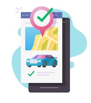 Wynajem lokalizacji carsharing taksówka samochód aplikacja mobilna lub telefon samochodowy z mapą geograficzną gps lokalizacja lokalizacja odległość pilot na smartfonie