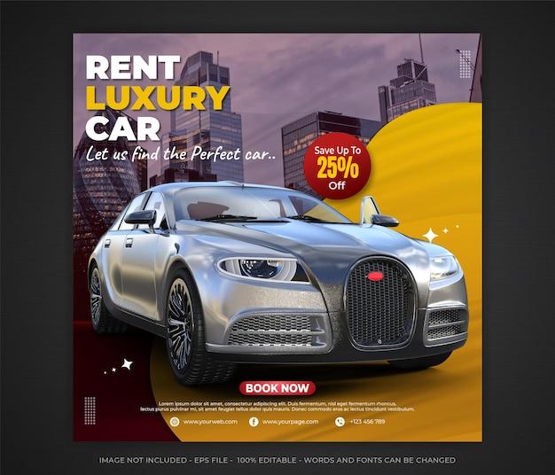 Wynajem luksusowych samochodów w mediach społecznościowych baner edytowalny szablon