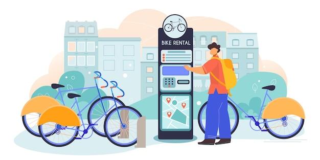 Wynajem rowerów z samoobsługowej zautomatyzowanej przechowalni rowerów wypożyczalnia obiektu na zewnątrz miejska kompozycja płaska