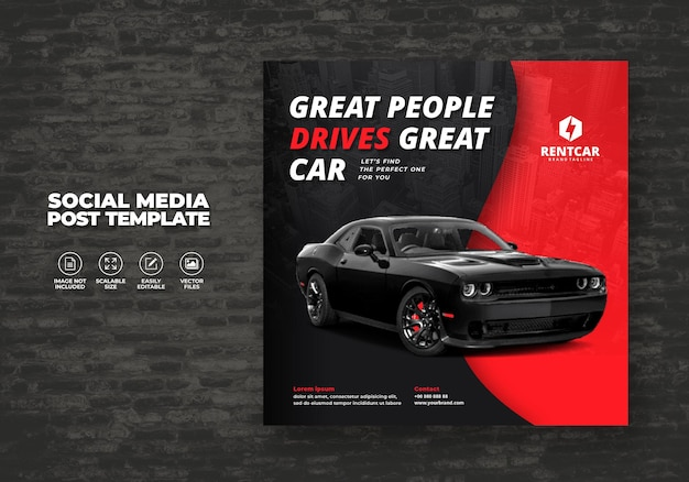 Wynajem samochodów i sprzedaj na promocję post szablon media społecznościowe baner kwadratowy wektor