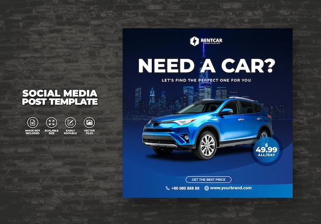 Wynajem samochodu dla social media instagram poczta i baner nowoczesny szablon