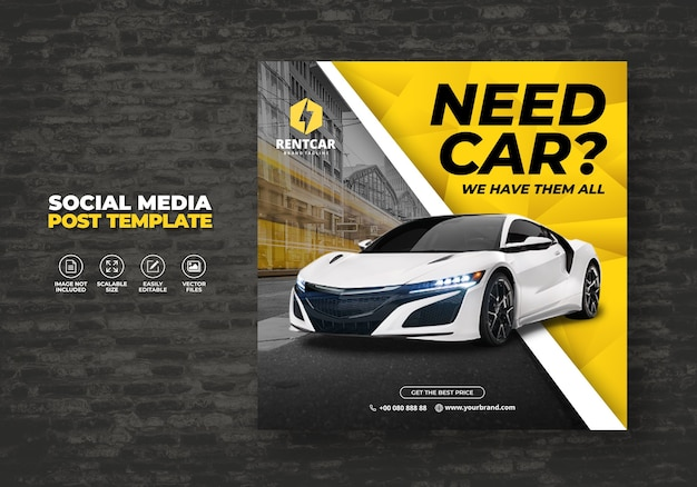 Wynajem samochodu dla social media post banner wzór