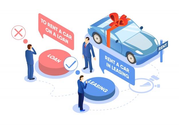 Wynajem samochodu na ilustracji wyboru pożyczki lub leasingu.