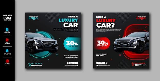 Wynajem samochodu wynajem samochodu social media post instagram banner template