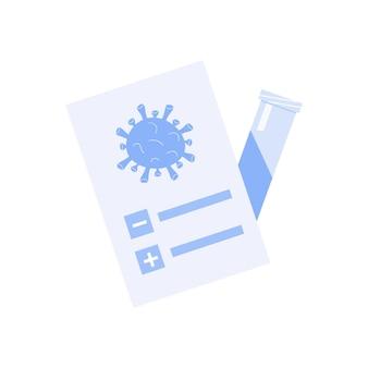 Wynik badania lekarskiego. covid certyfikat z ikoną probówki. bakterie koronawirusa. wektor