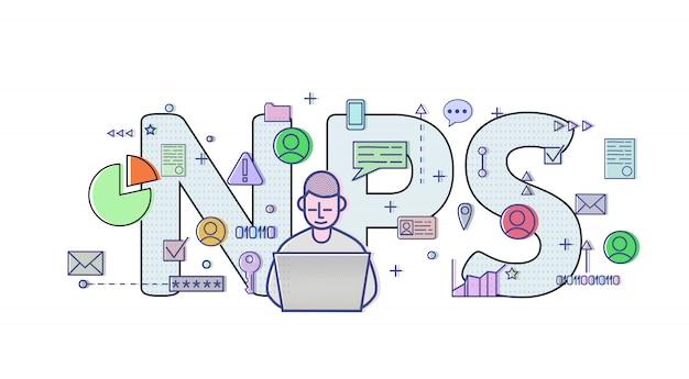 Wynik promotora netto, nps. tabela koncepcji z użytkownikiem komputera, literami i ikonami. kolorowa ilustracja na białym tle.