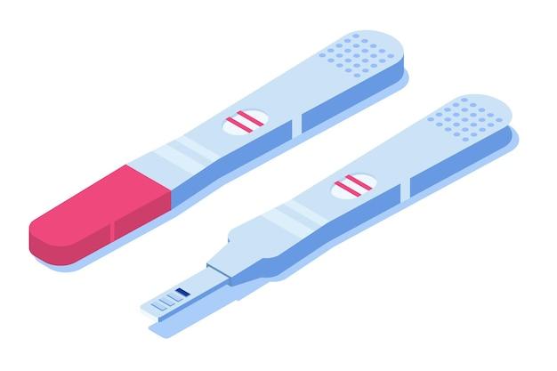 Wynik testu ciążowego dodatni, linie ujemne. ilustracja izometryczna.
