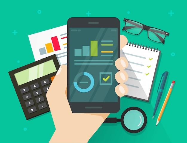 Wyniki analizy danych analitycznych na wektorze ekranu telefonu komórkowego