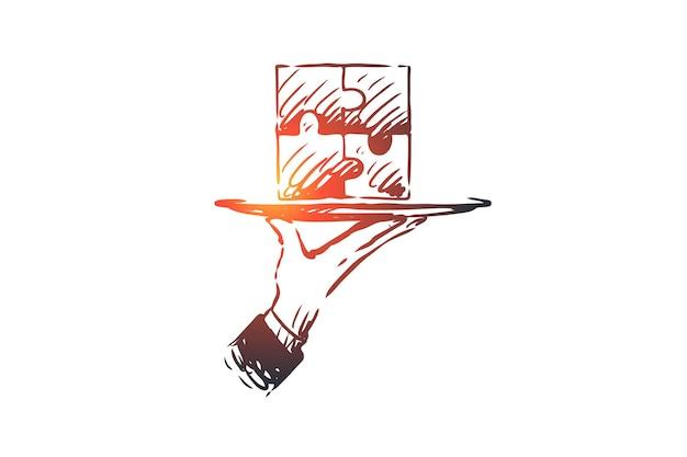 Wyniki, zagadka, połączenie, rozwiązanie, koncepcja pracy zespołowej. ręcznie rysowane puzzle zakończone, symbol szkic koncepcji wyniku.