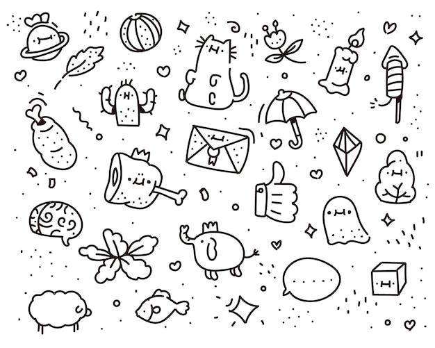 Wyobraźnia doodle stylu. styl rysowania wyobraźni