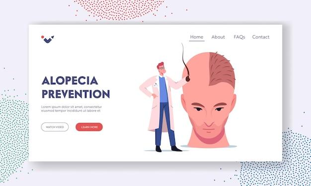 Wypadanie włosów i cofanie się zdrowia człowieka problem szablon strony docelowej. mały lekarz postać trzymająca mieszek włosowy przygotowuje ogromną męską głowę do zabiegu przeszczepu włosów. ilustracja wektorowa kreskówka ludzie