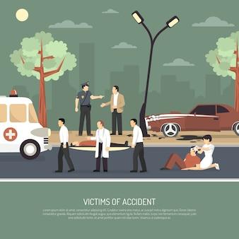 Wypadek drogowy pierwsza pomoc płaski plakat