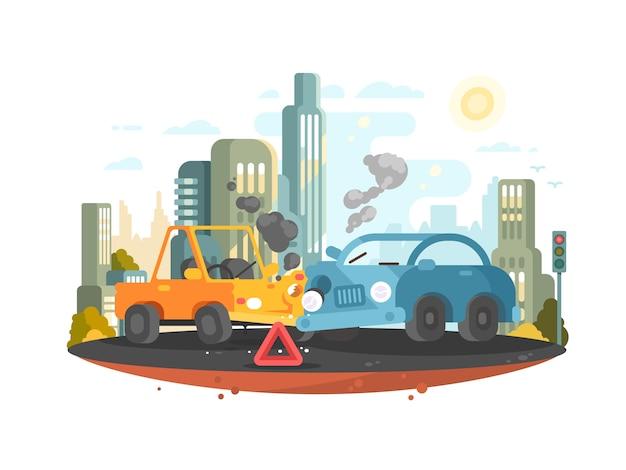 Wypadek drogowy. w mieście zderzyły się dwa samochody. ilustracja