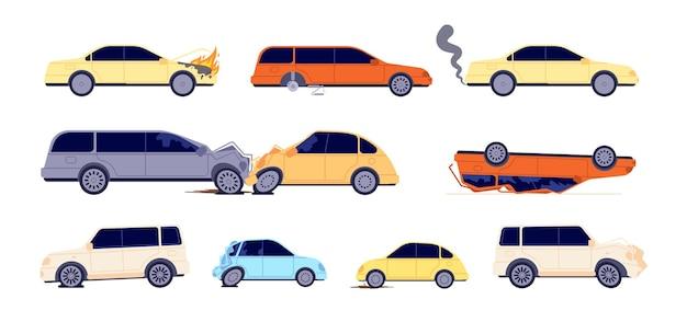 Wypadek drogowy. wypadek samochodowy, sytuacje awaryjne na ulicy. uszkodzone przypadki ubezpieczenia pojazdu, transport potrzebuje ilustracji wektorowych usługi naprawy. awaryjna droga powypadkowa, wypadek drogowy transport
