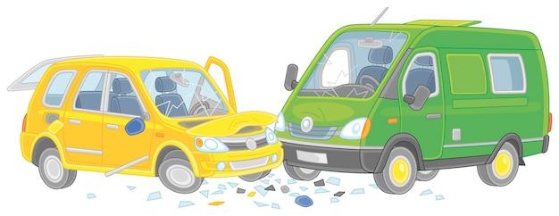 Wypadek drogowy z żółtym samochodem i zieloną ciężarówką zderzył się na kreskówce drogowej