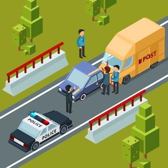 Wypadek na drodze miejskiej. policja samochodów i katastrofy izometrycznej sceny miejskiej