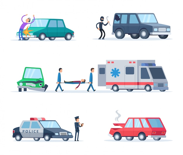 Wypadek na drodze. uszkodzenia samochodów