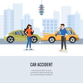 Wypadek samochodowy drogowy w mieście.