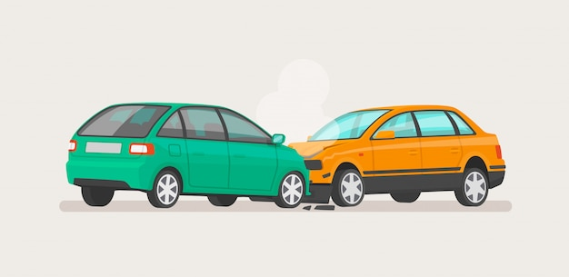 Wypadek samochodowy dwa zepsute samochody