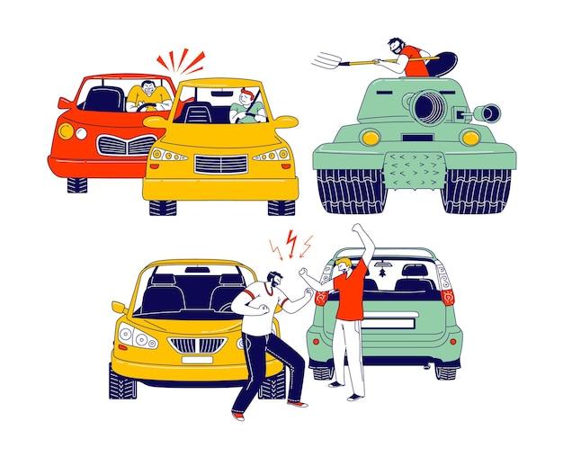 Wypadek samochodowy lub konflikt na drodze, kierowcy płci męskiej, którzy kłócą się stojąc na poboczu drogi przy swoich samochodach. sytuacja ubezpieczeniowa, mieszkańcy miasta cierpieli w ruchu, ilustracja wektorowa ludzi liniowych