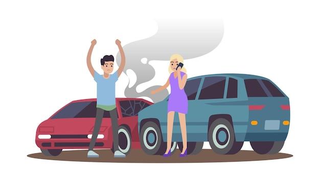 Wypadek samochodowy. mężczyzna i kobieta po zderzeniu samochodów na drodze, męska postać zła kobieta dzwoniąca na telefon, kierowcy stojący w pobliżu samochodów płaska kreskówka na białym tle ilustracja