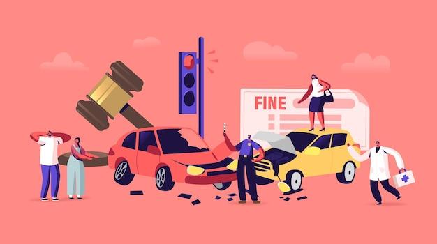 Wypadek samochodowy na drodze, postacie kierowcy stoją na poboczu drogi z rozbitymi samochodami z policjantem piszącym grzywnę i lekarzem, sytuacja na drodze w mieście. ilustracja wektorowa kreskówka ludzie