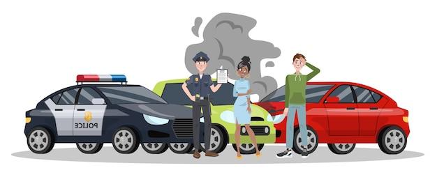 Wypadek samochodowy na drodze. uszkodzenie samochodu lub wypadek samochodowy. bezpieczeństwo na ulicy. ilustracja